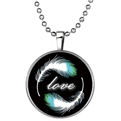 Chic Feather Letter Round Love Noctilucent Pendant Necklace