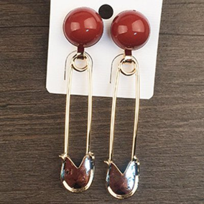 Pair of Delicate Pin Shape Ball Decorated Earrings For Women