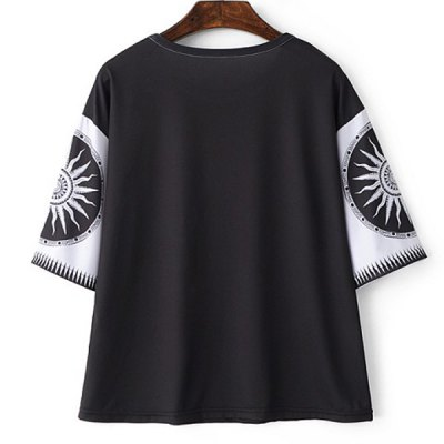 Casual round neck short sleeve printed t-shirt for women...