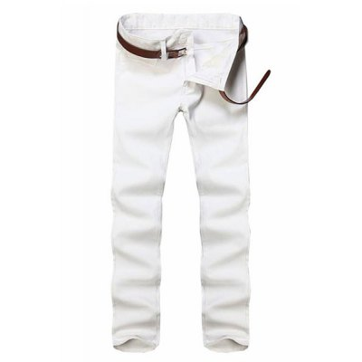 Simple Style Straight Leg Solid Color Zipper Fly Slimming Men's Pants