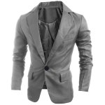 Buy Elegant Pure Color Turn-Down Collar Long Sleeve Men's Single Breasted Blazer L