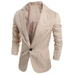 Buy Elegant Pure Color Turn-Down Collar Long Sleeve Men's Single Breasted Blazer XL