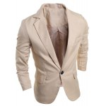 cheap Elegant Pure Color Turn-Down Collar Long Sleeve Men's Single Breasted Blazer