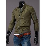 Stand Collar Zipper Pocket Solid Color Rib Cuffs Long Sleeve Men's Jacket
