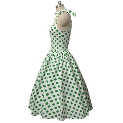 Graceful Bowknot Strappy Sleeveless Ball Gown Polka Dot Dress For WomenWomens Dresses<br>Graceful Bowknot Strappy Sleeveless Ball Gown Polka Dot Dress For Women<br><br>Style: Vintage<br>Material: Polyester<br>Silhouette: Ball Gown<br>Dresses Length: Mid-Calf<br>Neckline: Scoop Neck<br>Sleeve Length: Sleeveless<br>Pattern Type: Polka Dot<br>With Belt: No<br>Season: Summer<br>Weight: 0.377KG<br>Package Contents: 1 x Dress