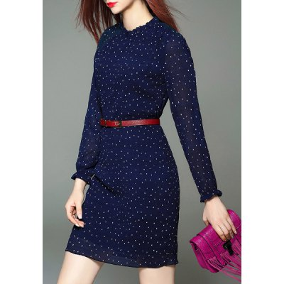 Stylish Ruffled Neck Long Sleeeve Polka Dot Dress For WomenWomens Dresses<br>Stylish Ruffled Neck Long Sleeeve Polka Dot Dress For Women<br><br>Style: Work<br>Material: Polyester<br>Silhouette: Sheath<br>Dresses Length: Mini<br>Neckline: Ruffled<br>Sleeve Length: Long Sleeves<br>Pattern Type: Polka Dot<br>With Belt: No<br>Season: Spring,Fall<br>Weight: 0.230KG<br>Package Contents: 1 x Dress