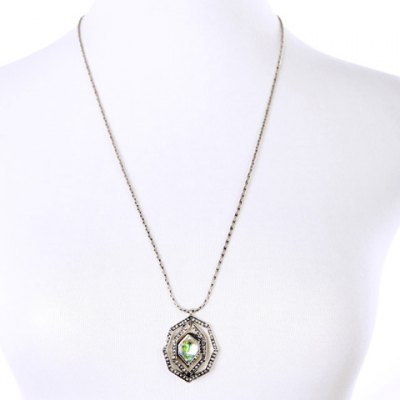 Charming Faux Crystal Rhinestone Polygon Shape Pendant Necklace For Women
