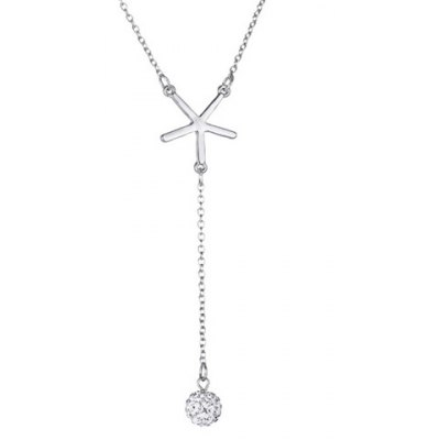 Chic V Shape Rhinestoned Ball Pendant Necklace For Women