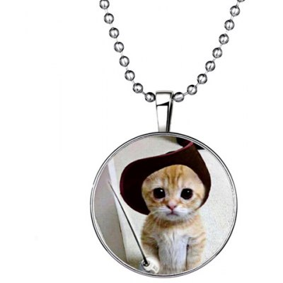 Chic Kitten Round Shape Noctilucent Pendant Necklace For Women