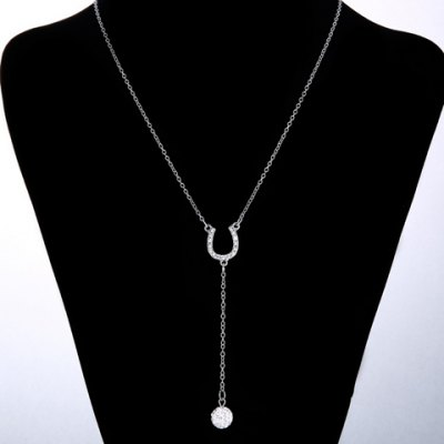 Exquisite U Shape Rhinestoned Ball Pendant Necklace For Women