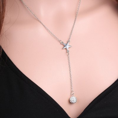 Exquisite Star Shape Rhinestoned Ball Pendant Necklace For Women