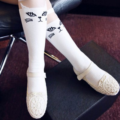 Cute Cartoon Cat Pattern Stretchy Knee Highs For Girl