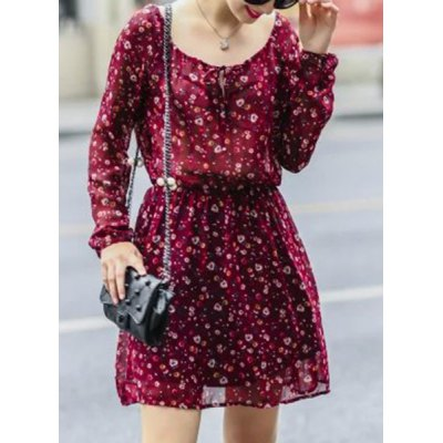 Casual Scoop Neck Long Sleeve Printed Mini Chiffon Dress For Women
