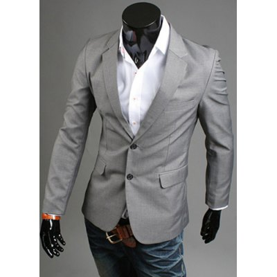 Elegant Turn-Down Collar Pure Color Long Sleeve Slim Fit Men's Blazer