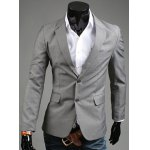 cheap Elegant Turn-Down Collar Pure Color Long Sleeve Slim Fit Men's Blazer