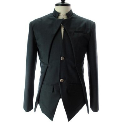 Stand Collar Splicing Design Faux Twinset Long Sleeve Blazer For Men