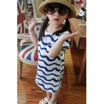 Fashionable Short Sleeve Zigzag Color Block Dress For Girl