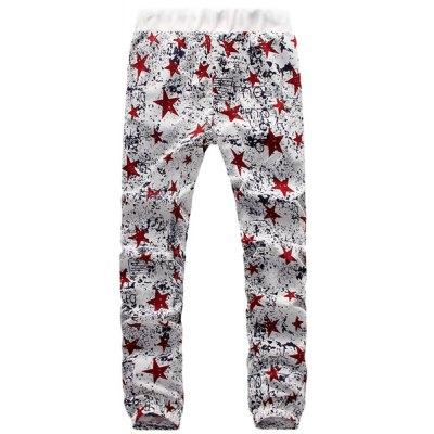 ФОТО Casual Narrow Feet Star Pattern Tie-Dye Design Lace-Up Slimming Jogger Pants For Men