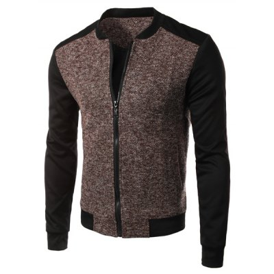 Фотография Casual Simple Style Stand Collar Zipper Splicing Jacket For Men