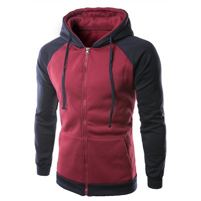 Long Sleeves Color Block Zipper Hoodie For Men