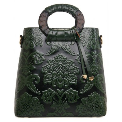 Chinese Style Floral and Embossing Design Tote Bag For Women