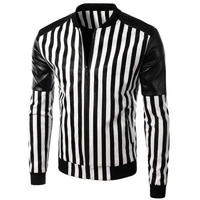 Zipper Stand Collar Stripe PU Leather Jacket For Men