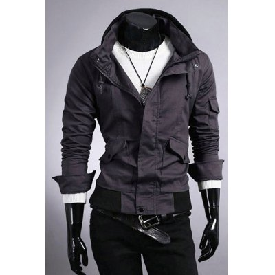 Pokets Zip Up Solid Color Jacket For Men