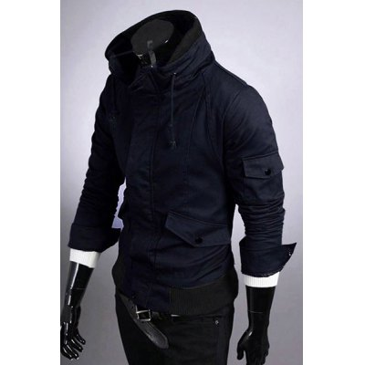 Casual Slim Fit Pokets Zip Up Solid Color Jacket For Men