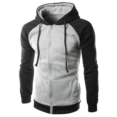 Slim Fit Long Sleeves Color Block Zipper Hoodie For Men