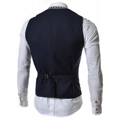 Faux Twinset V-Neck Single Breasted Color Block Sleeveless Waistcoat For Men
