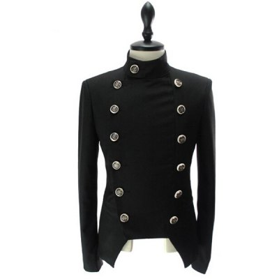 Stand Collar Double-Breasted Solid Color Long Sleeve Blazer For Men
