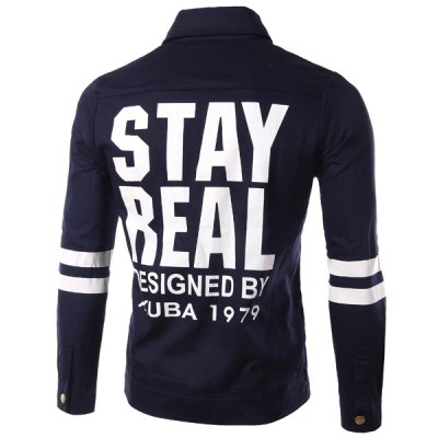 Casual Turn Down Collar Single Breasted Letter Printed Stripe Jacket For Men
