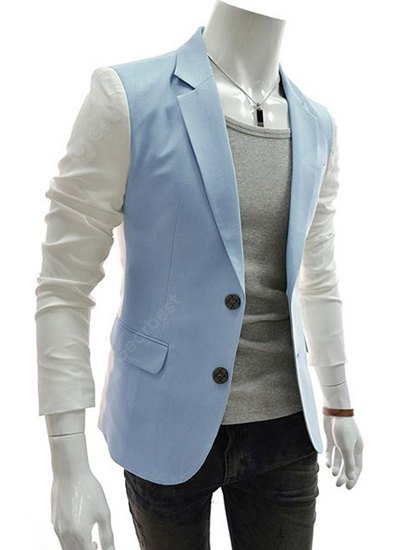 Blue Lapel Single Breasted Color Block Splicing Design Long Sleeve Blazer Men-30.54 Online Shopping GearBest.com