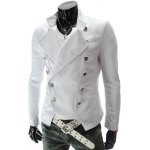 Buy Stand Collar Double-Breasted Solid Color Long Sleeve Blazer Men 2XL