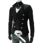 cheap Stand Collar Double-Breasted Solid Color Long Sleeve Blazer For Men