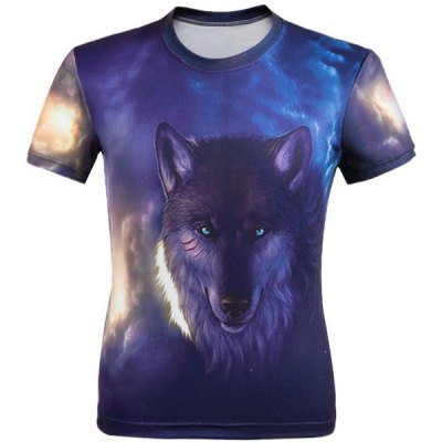 Gearbest 3D Wolf Printed Round Neck Short Sleeve T-Shirt For Men - 3XL COLORMIX