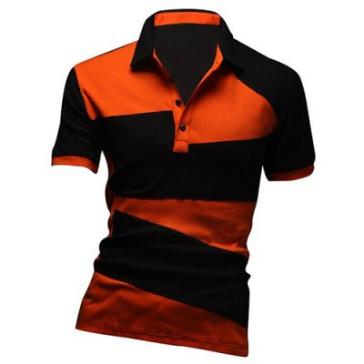 Turn-down Collar Short Sleeves Polo T-Shirt