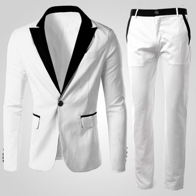Men's Single Button Long Sleeves Color Block Suit (Blazer+Pants)