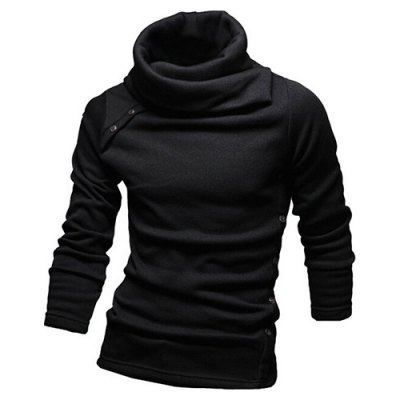 Vogue Heaps Collar Button Embellished Solid Color Long Sleeves Sweater For Men
