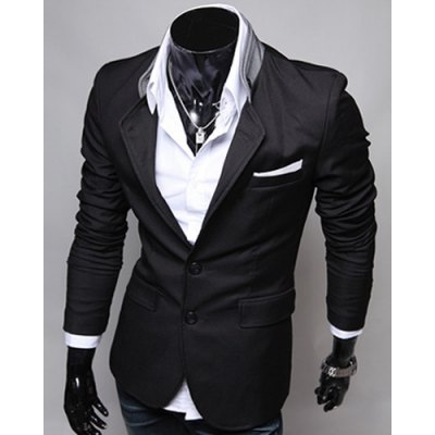 Single-Breasted Color Block Patch Pocket Lapel Long Sleeves Blazer For Men