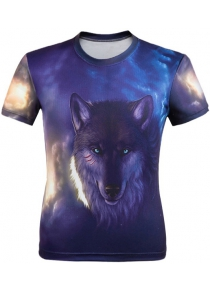 3D Wolf Printed Round Neck Short Sleeve T-Shirt For Men