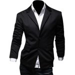 Casual Lapel Flap Pocket Rib Spliced Slimming Long Sleeves Blazer For Men