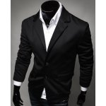 cheap Casual Lapel Flap Pocket Rib Spliced Slimming Long Sleeves Blazer For Men