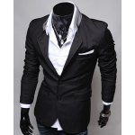 cheap Single-Breasted Color Block Patch Pocket Lapel Long Sleeves Blazer For Men