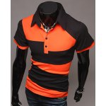 cheap Fashion Turn-down Collar Color Lump Splicing Short Sleeves Polo T-Shirt For Men