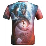 cheap 3D Cartoon Dragon and Figure Printed Round Neck Short Sleeve T-Shirt For Men