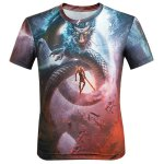 3D Cartoon Dragon and Figure Printed Round Neck Short Sleeve T-Shirt For Men photo