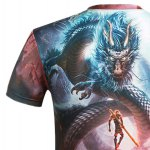 3D Cartoon Dragon and Figure Printed Round Neck Short Sleeve T-Shirt For Men for sale