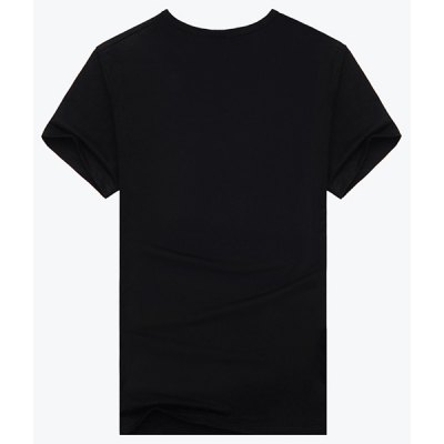 Abstract 3D Dragon and Moon Print Round Neck Short Sleeves Black T-Shirt For Men