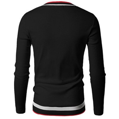 Modern Style V-Neck Rib Spliced Stripes Pattern Long Sleeves T-Shirt For Men